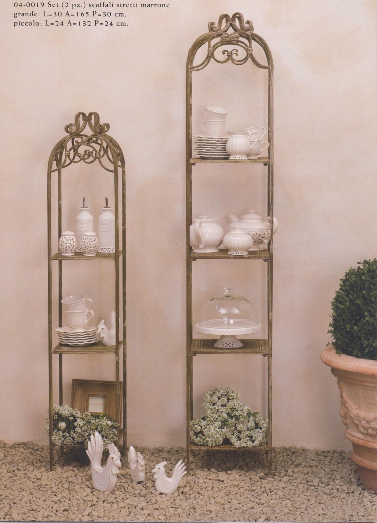 scaffali accessori per arredamento bagno in ferro battuto marrone
